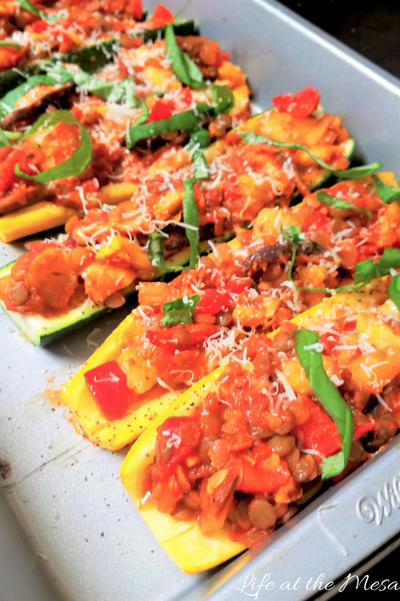 Vegetarian zucchini boats